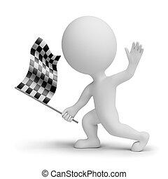 checkered, whitch, leute, fahne, klein, 3d