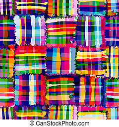 Checkered,quilt rainbow seamless pattern with transversal...