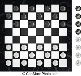 Checkers - Board and checkers to play