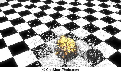 Checkers game round draughts Concept education 3d fake game End of the big bang