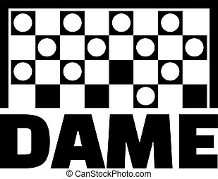 Checkers game with german word