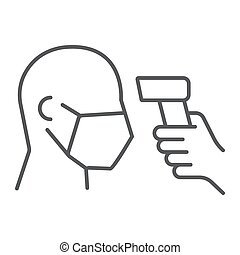 Checking body temperature thin line icon, coronavirus and covid 19, temperature scaning sign, vector graphics, a linear pattern on a white background, eps 10