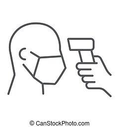 Checking body temperature thin line icon, coronavirus and ...