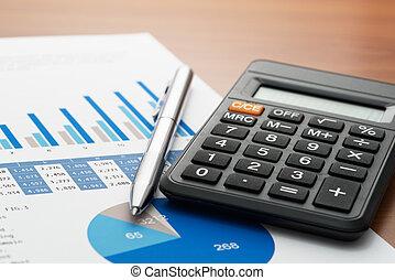 checking, bogholderi, rapport, på, firma, tabel.