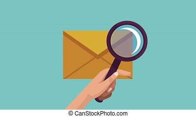 Checking email with magnifying glass HD animation - Checking...