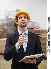 checking, hård, driftsleder, slide, hat, opgørelse, opmagasinere