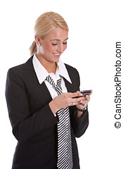 Checking messages - Beautiful young business woman checking...