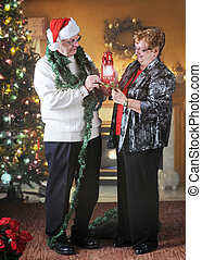 Checking out Christmas Decore - A senior adult couple ...
