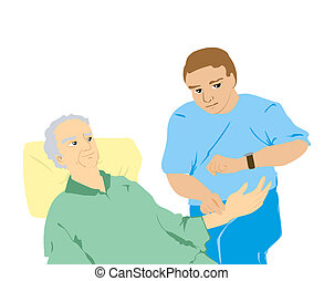 Checking Pulse Rate - Caregiver Checking Pulse Rate with...