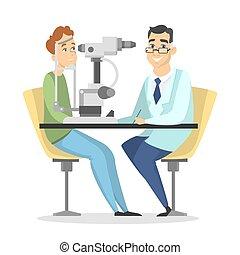 Checking the eyesight.