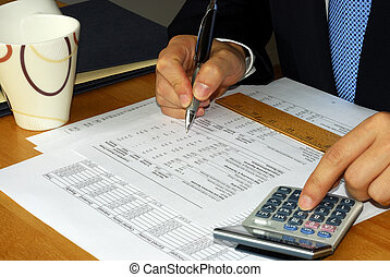 Checking the financial statement with the calculator