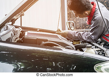 checking the level of the engine oil