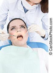 Checking the teeth