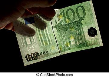 watermark 100 euro - checking watermark 100 euro isolated on...