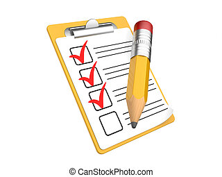Checklist and Clipboard with white
