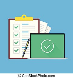Checklist and laptop with check mark icon on screen. Clipboard with green checkmarks, pen and notebook with tick line icon. Modern concept. Flat design. Vector illustration
