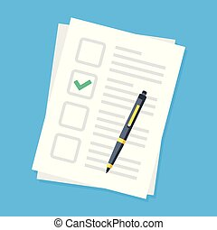 Checklist and pen. Application form, survey. Document and green check mark in checkbox. Sheet of paper and checkmark. Modern vector illustration