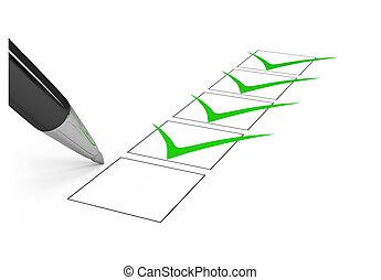 Checklist. - Black pen draws a checkmark in the list. 3d...