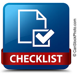 Checklist blue square button red ribbon in middle