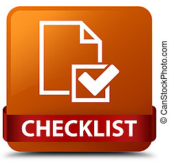 Checklist brown square button red ribbon in middle