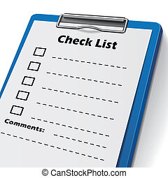 checklist clipboard with check boxes on it