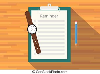 checklist clipboard reminder watch pencil flat vector