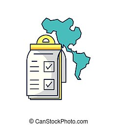 checklist clipboard with american continent map