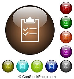 Checklist color glass buttons