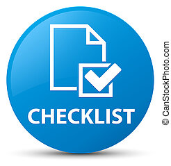 Checklist cyan blue round button