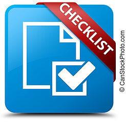 Checklist cyan blue square button red ribbon in corner
