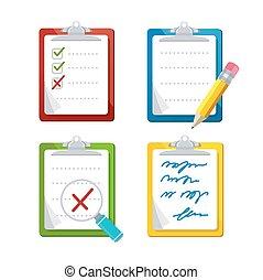 Checklist Dashboards Survey Icon Set. Vector