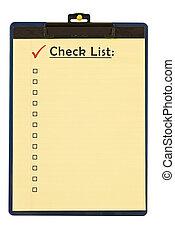 Checklist Form On Clipboard