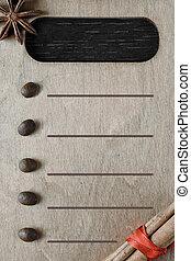 checklist., forma, de madera, cuaderno, tabla, blanco