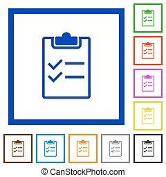 Checklist framed flat icons