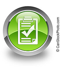 Checklist glossy icon - checklist icon on glossy green round...