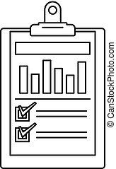 Checklist graph icon, outline style