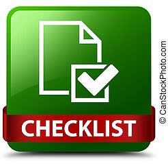 Checklist green square button red ribbon in middle