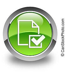 checklist, guzik, 2, zielony, połyskujący, okrągły, ikona