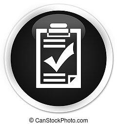 Checklist icon black glossy round button