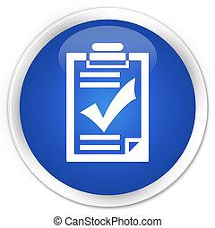 Checklist icon blue glossy round button