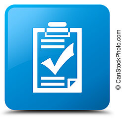 Checklist icon cyan blue square button