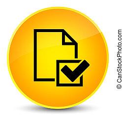 Checklist icon elegant yellow round button