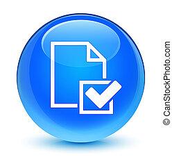 Checklist icon glassy cyan blue round button