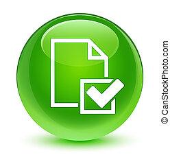 Checklist icon glassy green round button