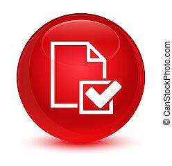 Checklist icon glassy red round button