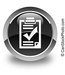 Checklist icon glossy black round button