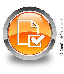 Checklist icon glossy orange round button 2