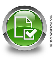 Checklist icon glossy soft green round button