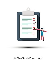 Checklist Icon. Man with Pancel and Paper Notebook Symbol. To Do List Concept.