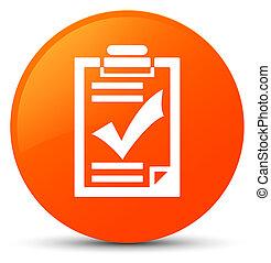 Checklist icon orange round button